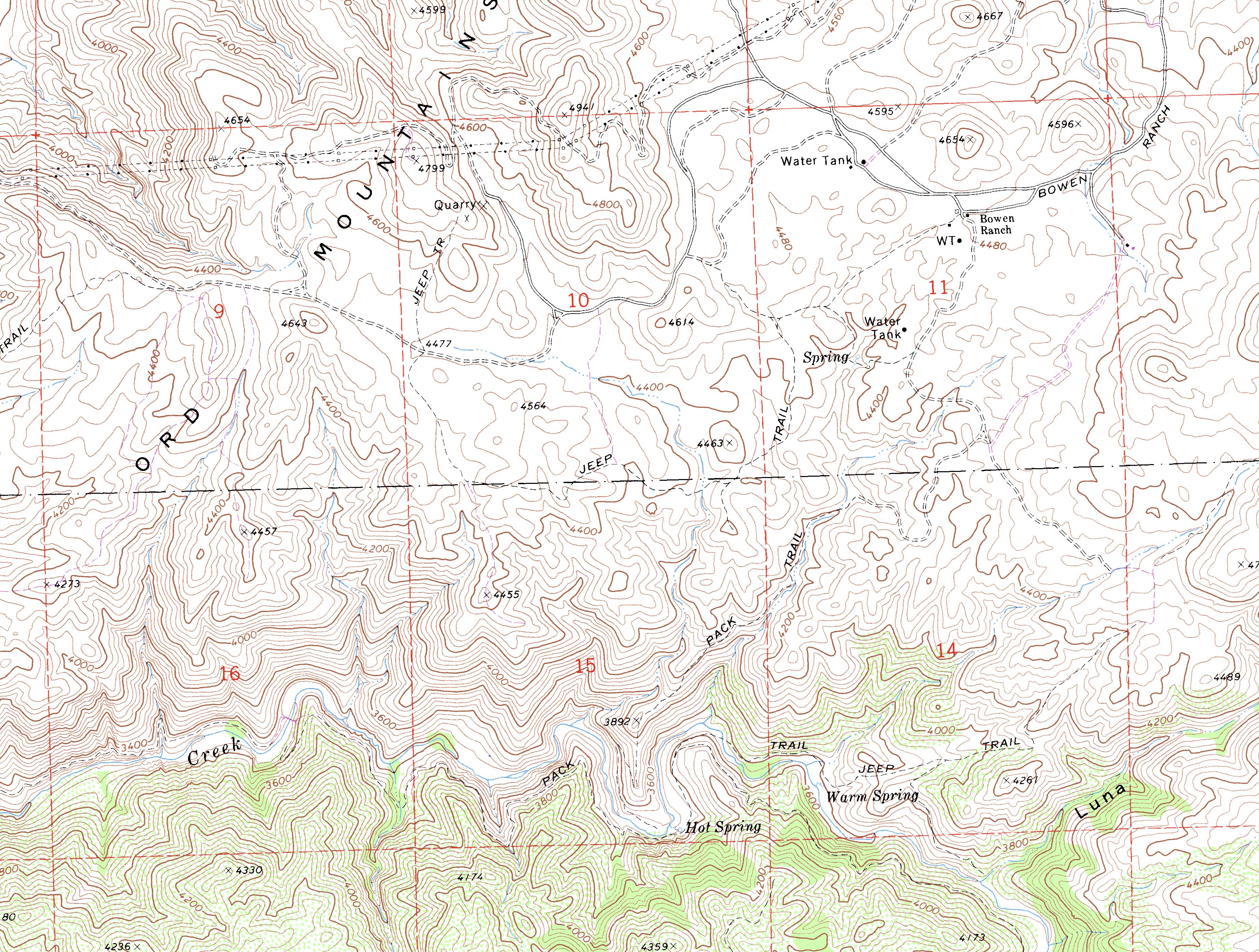 Deep Creek Hot Springs -- Spillway Trail Topographic Map on